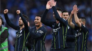 Man City team dey celebrate