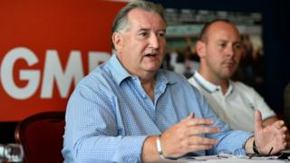 Paul Kenny speaking at a press conference at the TUC Congress