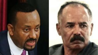 Umushikiranganji wa mbere wa Ethiopia Abiy Ahmed (i bubamfu) yagiye kubonana na Prezida wa Eritrea Isaias Afewerki