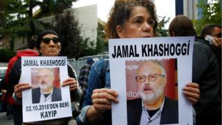 متظاهرون أمام القنصلية السعودية في إسطنبول يطالبون بالكشف عن مصير خاشقجي
