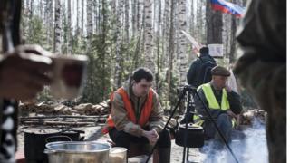 Палаточный лагерь у стройки полигона в Шиесе