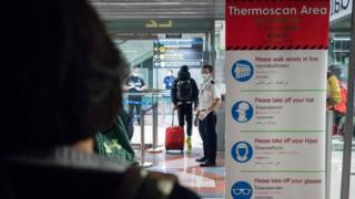 Public Health Officials run thermal scans on passengers arriving from Wuhan, China at Suvarnabumi Airport on January 8, 2020 in Bangkok, Thailand