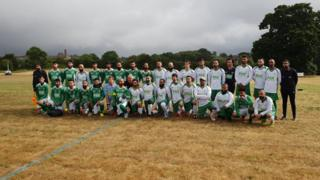 Players in charity football match raising money for the Rohingya crisis