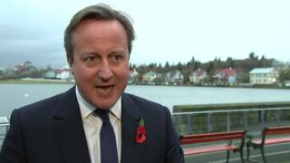 David Cameron speaking in Iceland