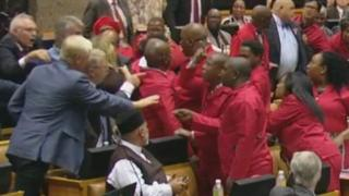 Brawl in South African parliament (6 November 2018)