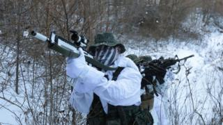 US and South Korean marines conducting winter military training exercise in Pyeongchang county, Dec 2017