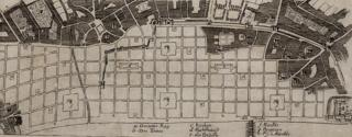 Robert Hooke's (attributed) plan for rebuilding London after the Great Fire, 1666 (detail)