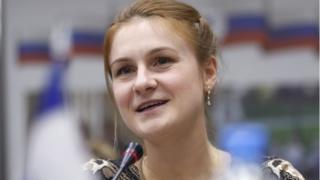 Maria Butina at the press event with Russian High Commissioner for Human Rights