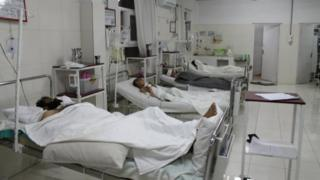 Casualties from car bombing lying in hospital