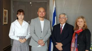 "Photo released by Israeli embassy showing Pichayapa ""Namsai"" Natha, the BNK48 CEO, and the Israeli ambassador"