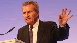 EU's Digital Economy Commissioner Guenther Oettinger, file pic