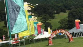 Flags on the maes (field)