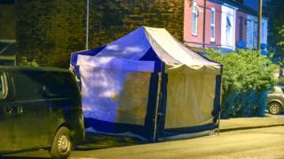 Blue tent in Belchers Lane in the Alum Rock area of Birmingham