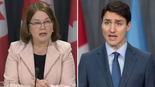 Liberal MP Jane Philpott (L) PM Justin Trudeau (R)