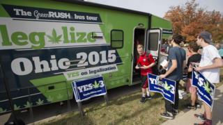 Pro-marijuana legalisation group ResponsibleOhio at Miami University on 23 October in Oxford, Ohio.