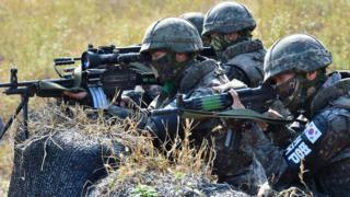 South Korean soldiers on exercise near the border with North Korea