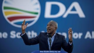 South African main opposition party Democratic Alliance leader Mmusi Maimane gestures as he speaks