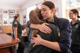 Prime Minister Jacinda Ardern meets with first responders at the Whakatane Fire Station