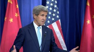 John Kerry speaking at the recent press conference.