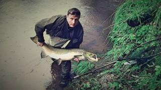 John MacIssac and salmon caught on River Spean