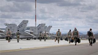 Royal Australian Air Force F/A-18F Super Hornets at an air base