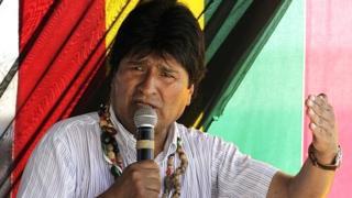 President Evo Morales speaks during ceremony in Cobija, north of La Paz, 30 September 2014