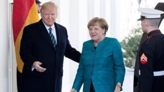 Donald Trump recibe a Angela Merkel en la Casa Blanca.