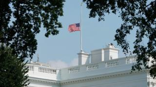 White house flag shown at half-staff on Monday afternoon