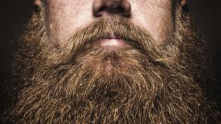 Close up of big bushy beard