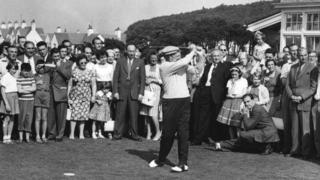 September 1959: Dwight D Eisenhower playing at Turnberry golf course, during a weekend stay at Culzean Castle, Ayrshire, after talks in Paris with General De Gaulle