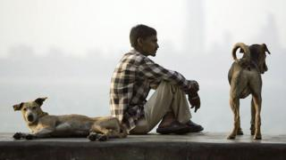 A migrant Indian labourer sits with a pair of dogs on a promenade on Marine Drive in Mumbai 08 January 2007.