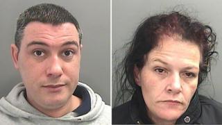 Police mugshots of Adam Groves and Nicola Robson