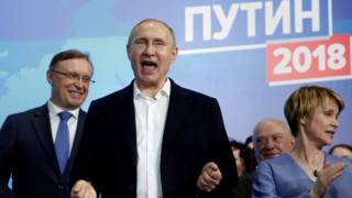 Vladimir Putin meets supporters after election victory - 18 March