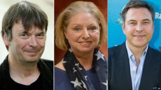 (l-r) Ian Rankin, Hilary Mantel, David Walliams