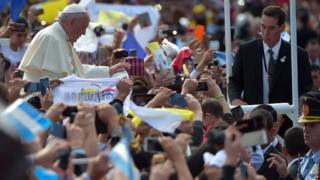 Pope Francis arriving at Caacupe