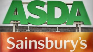 Asda and Sainsbury's signs