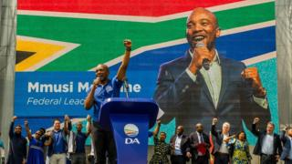 Mmusi Maimane addresses the audience during the Democratic Alliance's 2019 national elections campaign launch on 22 September 2018, in Johannesburg.