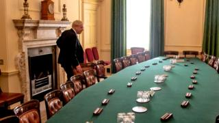 Boris Johnson in the cabinet room