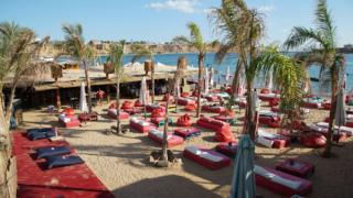 Empty sun loungers on a beach in Sharm el-Sheikh - November 2015