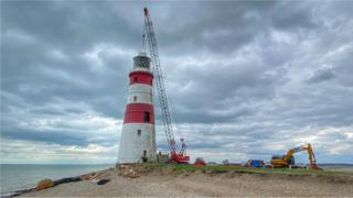 After days of preparation, deconstruction work at the historic Orfordness Lighthouse is now under way