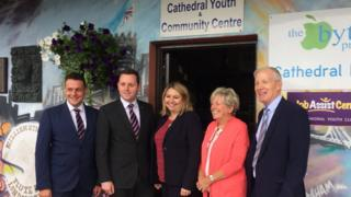 NI Secretary Karen Bradley visiting the Fountain estate in Londonderry, along with DUP MP Gregory Campbell (far right) and DUP MLA Gary Middleton (centre left)