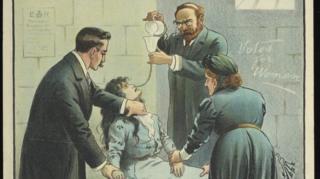 因爭取女性投票權抗議示威被捕的女囚在獄中絶食,時任內政大臣格拉斯頓下令強迫灌食,舉國嘩然。