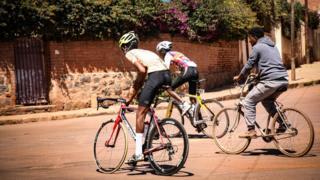 Cyclists in Asmara, Eritrea