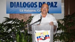 Handout picture released by the Farc delegation showing Carlos Antonio Lozada in Havana on 28 July, 2015.
