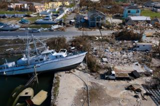 A view of the damage caused by Hurricane Dorian