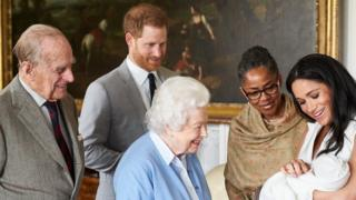 The Duke of Edinburgh, Prince Harry, the Queen, Doria Ragland, the Duchess of Sussex and baby Archie
