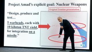 آقای نتانیاهو هنگام صحبت عکس و فیلم های مرتبط با سخنانش را پخش می کرد
