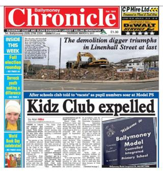 The front page of the Ballymoney Chronicle
