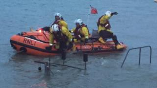 RNLI crew at Hythe mud rescue