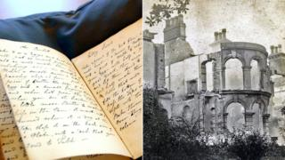 A composite image of the recipe book and Begbrook House in Frenchay